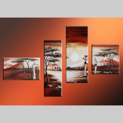 4 Leinwandbilder AFRIKA Frau (1) 140 x 80cm Handgemalt
