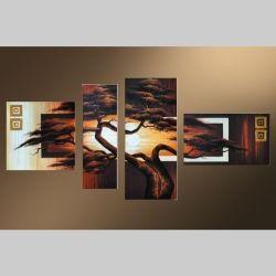4 Leinwandbilder AFRIKA Baum (2) 140 x 70cm Handgemalt