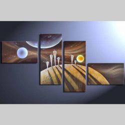 4 Leinwandbilder ABSTRAKTE KUNST (18) 160 x 80cm Handgemalt
