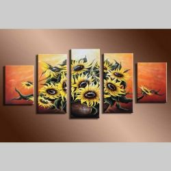 5 Leinwandbilder SONNENBLUME (2) 150 x 70cm Handgemalt