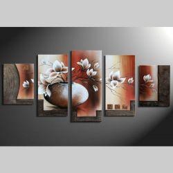 5 Leinwandbilder MAGNOLIA (2) 150 x 70cm Handgemalt