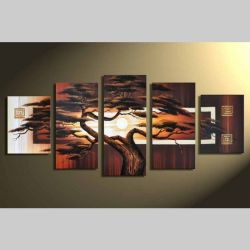 5 Leinwandbilder AFRIKA Baum (1) 150 x 70cm Handgemalt
