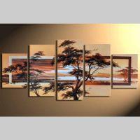5 Leinwandbilder AFRIKA Baum (7) 150 x 70cm Handgemalt