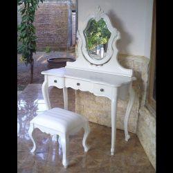 Mahagoni Frisiertisch ANTOINETTE Weiß inkl. Spiegel & Hocker 110cm