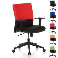 Bürostuhl ISTANBUL Schwarz-Rot aus Stoff
