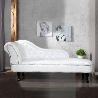 Recamiere WINCHESTER Weiß im klassisch englischen Chesterfield-Stil