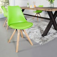 Retro Stuhl GÖTEBORG Limegrün-Eiche im skandinavischen Stil