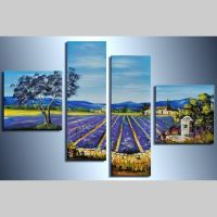 4 Leinwandbilder LAVENDELFELD (1) 100 x 70cm Handgemalt