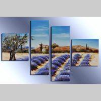 4 Leinwandbilder LAVENDELFELD (2) 100 x 70cm Handgemalt