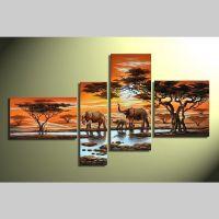 4 Leinwandbilder ELEFANT (1) 140 x 80cm Handgemalt