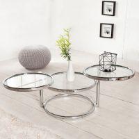 3 Ebenen Beistelltisch SATURNUS Chrom und Glas drehbar 55cm-155cm