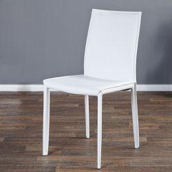Stuhl BOSTON Weiß aus Echtleder mit Ziernaht - Komplett montiert!
