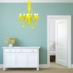 Kronleuchter CHANTAL Neon-Gelb 6-armig 55cm Ø