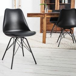 Retro Stuhl GÖTEBORG Schwarz & Metallgestell Schwarz im skandinavischen Stil