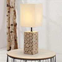 Tischlampe PURITY Weiß mit Fußsockel aus Eukalyptusholz 45cm Höhe
