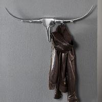 Garderobe Stierkopf Schädel ARIZONA Silber aus poliertem Aluminium 100cm Länge