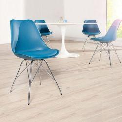 Retro Stuhl GÖTEBORG Blau & Chromgestell im skandinavischen Stil