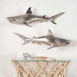 2er Set Deko Skulptur Tigerhai NICO links & rechts ausgerichtet Silber aus poliertem Aluminium 70cm