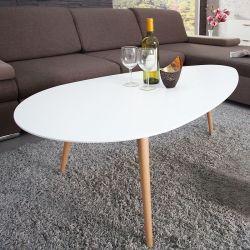 Retro Couchtisch GÖTEBORG Weiß-Eiche Tropfenform 115cm im skandinavischen Stil