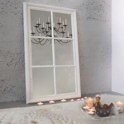 Romantischer Wandspiegel PORTA Weiß Vintage aus Holz 105cm x 65cm