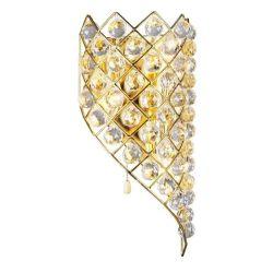 Wandlampe ELISE goldfarbig mit echten Kristallprismen 3-flammig rechts abfallend