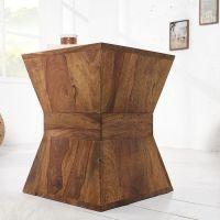 Beistelltisch AGRA Pyramiden-Form Sheesham massiv Holz gewachst 45cm x 35cm