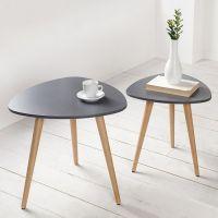 Retro 2er Set Beistelltische GÖTEBORG Graphit-Eiche Plektrum-Form 50/40cm im skandinavischen Stil