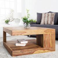 Couchtisch AGRA Sheesham massiv Holz gewachst 80cm x 80cm