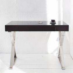 Schreibtisch LONDON Schwarz Hochglanz mit Schublade & Gestell Chrom 100cm