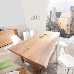 Esstisch AMBA Natur massiv Akazienholz 240cm & 60mm Tischplatte