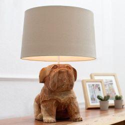 Handgeschnitzte Tischlampe Hund Bulldogge RANDY Weiß aus Walnuß Massivholz 50cm Höhe