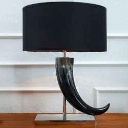 Tischlampe DAO Schwarz aus echtem Wasserbüffelhorn 65cm Höhe
