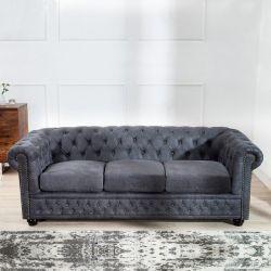 3er Sofa WINCHESTER Grau im klassisch englischen Chesterfield-Stil