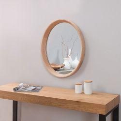 Wandspiegel OAKLEY Eiche massiv Holz Oval 43cm x 33cm