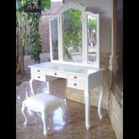 Mahagoni Frisiertisch GIA Weiß inkl. 3er Spiegel & Hocker 120cm