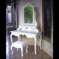 Mahagoni Frisiertisch JADE Weiß inkl. Spiegel & Hocker 120cm