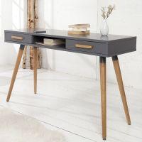 Retro Schreibtisch GÖTEBORG Grau-Eiche mit 2 Schubladen 120cm im skandinavischen Stil
