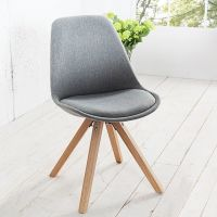 Retro Stuhl GÖTEBORG Grau-Eiche Strukturstoff im skandinavischen Stil
