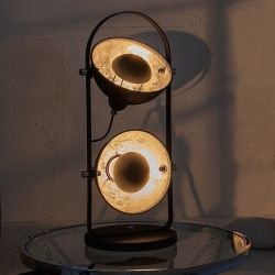 2er Tischlampe SPOT Schwarz-Silber 55m Höhe