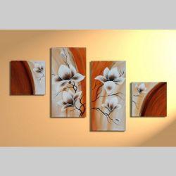4 Leinwandbilder MAGNOLIA (2) 80 x 50cm Handgemalt