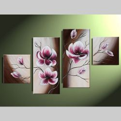 4 Leinwandbilder MAGNOLIA (3) 80 x 50cm Handgemalt