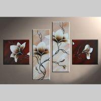 4 Leinwandbilder MAGNOLIA (4) 100 x 70cm Handgemalt