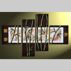 4 Leinwandbilder BAMBUS (2) 100 x 70cm Handgemalt