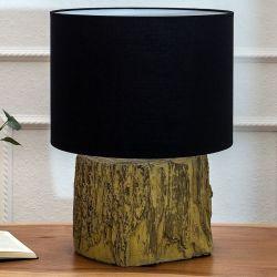 Tischlampe TAMARA Schwarz mit Fußsockel aus Feinbeton 40cm Höhe