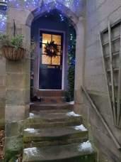 Front door with artificial snow
