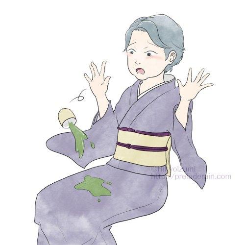 お茶をこぼした着物を着た年輩女性のイラスト