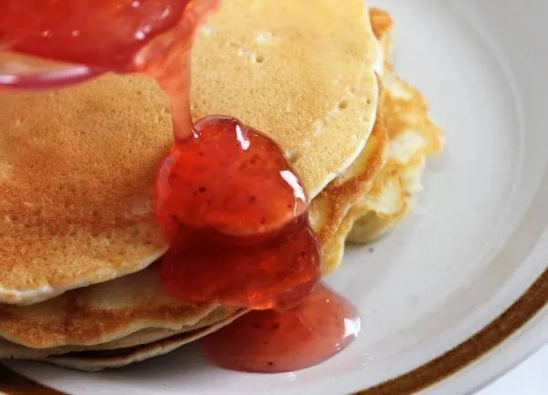 pancakes and strawberry syrup