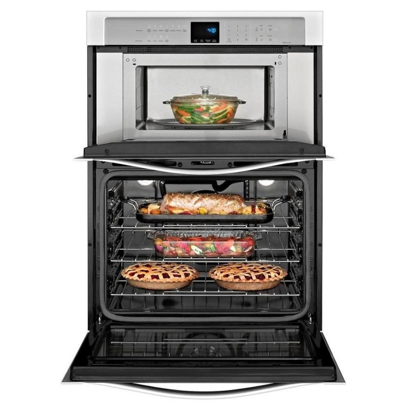 whirlpool woc95ec0as 30 in electric convection wall oven with built in microwave in stainless steel