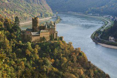 Katz Castle overlooking the Rhine in Germany