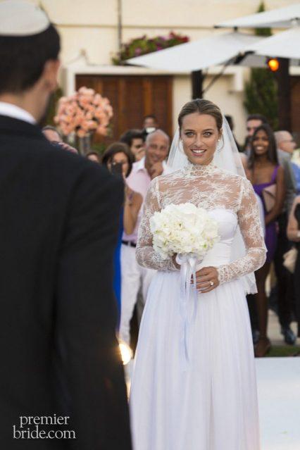 Bride greets her groom